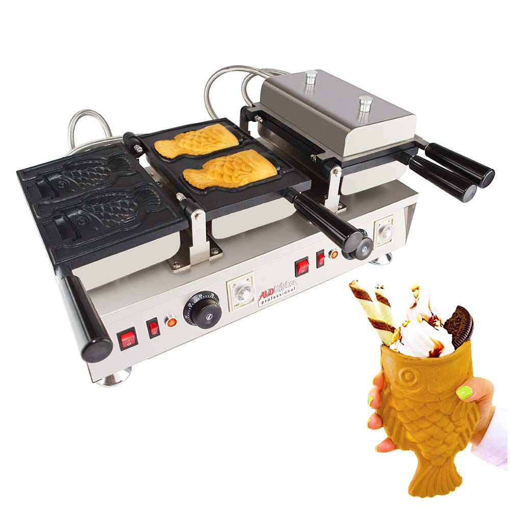 ALDKitchen Open Mouth Fish Waffle Machine   Stainless Steel Professional Electric Taiyaki Maker with Nonstick Baking Molds   Four Fish Shaped Ice Cream Cones   110V   3.2kW