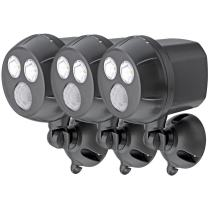Mr Beams MB393 300-Lumen Weatherproof Wireless Battery Powered LED Ultra Bright Spotlight with Motion Sensor, Brown, 3-Pack