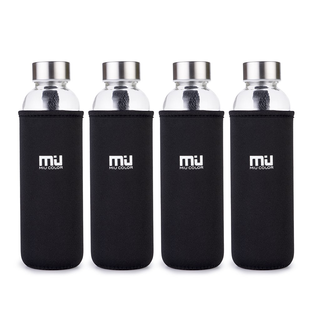 MIU COLOR 18.5 oz Glass Water Bottle - Eco-Friendly Shatter Resistant Borosilicate Glass Bottle, BPA, PVC and Lead Free, Portable with Nylon Sleeve…