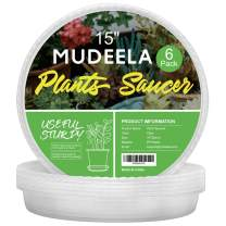 MUDEELA 6 Pack of 15 inch Plant Saucer, Durable Plastic Plant Trays for Indoors, Clear Plastic Flower Plant Pot Saucer, Made of Thicker, Stronger Plastic, with Taller Design