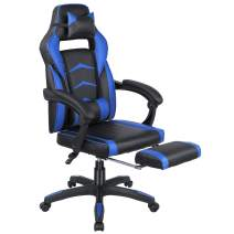 Femor Gaming Chair, Office Chair, Racing Chair, Ergonomic Design with PU Leather, Headrest and Lumbar Support, Adjustable Height Chair (Blue)