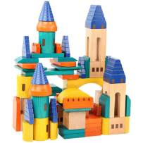 Migargle Wooden Castle Building Blocks Set-Stacking Wood Castle Blocks Educational Toy Set for Toddlers, Fantasy Medieval Bridges and Arches, Wooden Blocks for Kids Ages 3-8