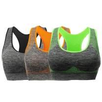 Lykoxa Sports Bra, Padded Seamless Racerback Sports Bras for Women - Workout Yoga Gym Fitness Activewear Bra