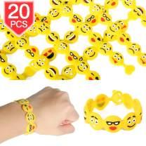PROLOSO Emoji Bracelets Emoji Silicone Wristbands Kids Toy Bracelet Party Favors Supplies Class Prizes Rewards 20 Pcs