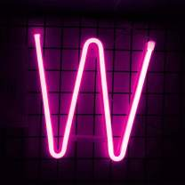 Smilco Light Up Marquee Letter Neon Sign,Pink 26 Alphabe Wall Decor Number with USB and Battery Powered Lights for Wedding Birthday Cheristmas Party Bedroom Decoration (W)