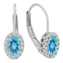 Dazzlingrock Collection 14K Ladies Halo Style Hoop Earrings, White Gold