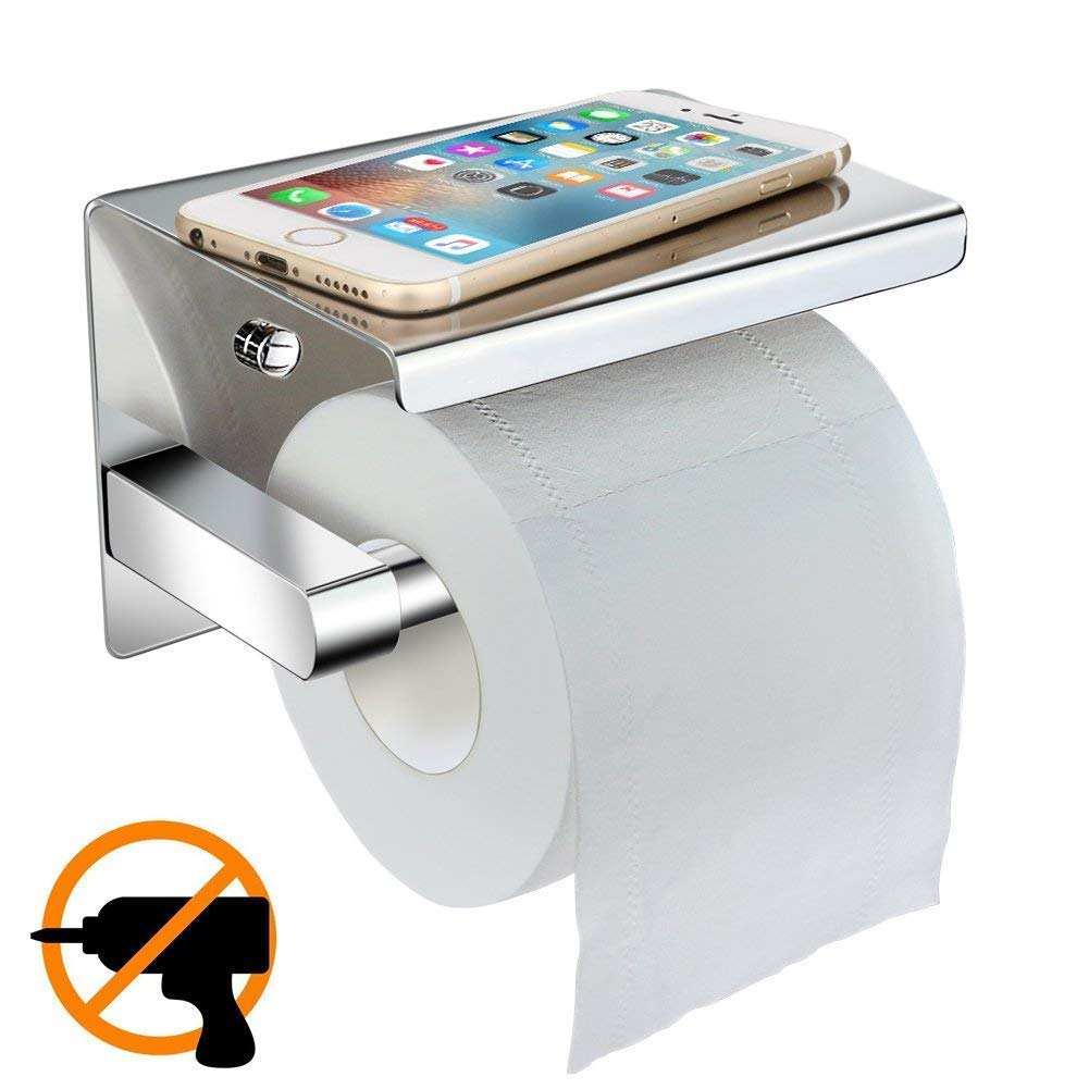 Toilet Roll Holder Without Drilling Esonstyle Self Adhesive Stainless Steel Toilet Paper Holder Toilet Roll Holder Toilet Paper Roll Holder Wall Mount Toilet Roll Holder With Storage Silver Sus304