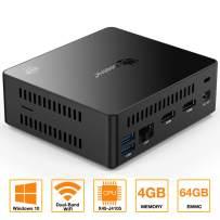 Mini PC Desktop, 4GB/64GB,Support Computer Windows 10 64-bit Intel J4105 HD Graphics,4K/1000M LAN/2.4GHz+5.8GHz WiFi/b/g/n 4.0 [Dual Output - VGA/HDMI] (4+64G / 2.5GHz / Windows 10)