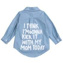 Toddler Kids Little Girl Denim Shirt Letter Print Button Down Denim Blouse Top Spring Clothes 2-7 T