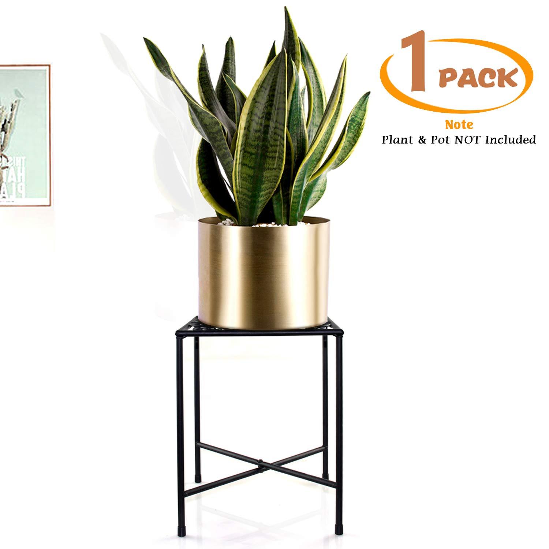 Metal Plant Stand, KABB Iron Art Flower Pot Holder, Modern Metal Display Potted Rack,Rustproof Flower Pot Stand   Decorative Plant Holder for Home, Garden, Patio, Plant Lovers, Housewarming (1 Pack)