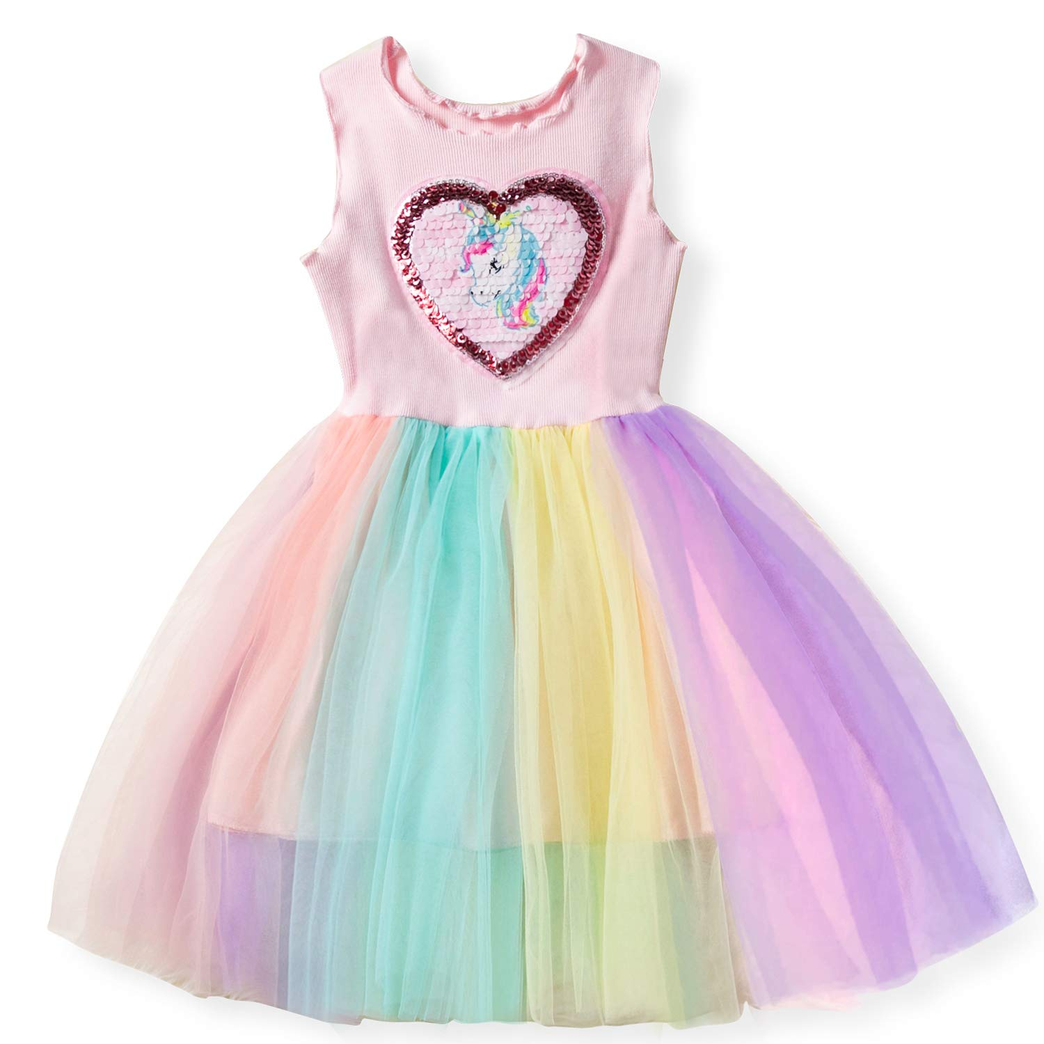 NNJXD Girls Summer Sleeveless Casual Star Sequins Tutu Party Princess Dress for 2-7 Years