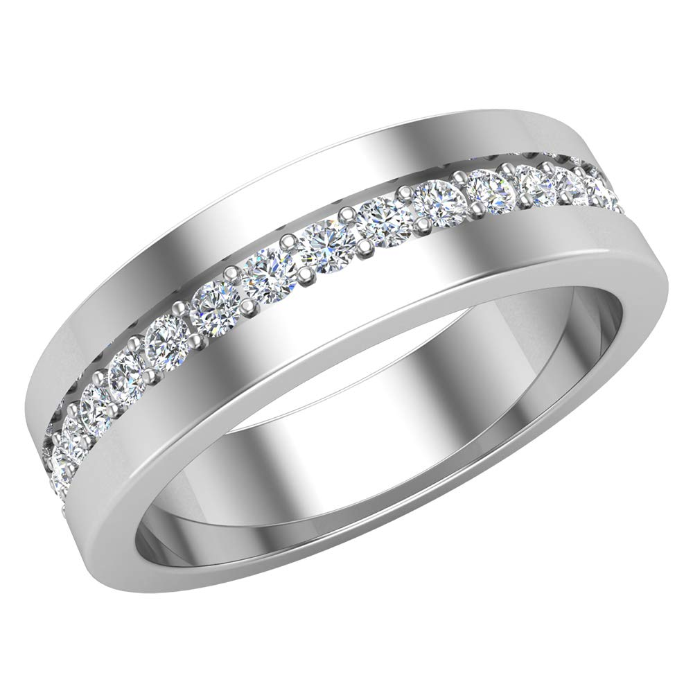 Men's Diamond Wedding Band Semi-Eternity Wedding Ring 18K Gold 0.45 ct tw (G, VS)
