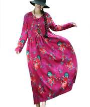 YESNO Women Long Maxi Baggy Dress Casual Plus Size Lagenlook 'Pop Art' Oil Painting Like/Pocket F01
