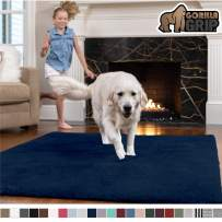 GORILLA GRIP Original Faux-Chinchilla Area Rug, 3x5 Feet, Super Soft and Cozy High Pile Washable Carpet, Modern Rugs for Floor, Luxury Shag Carpets for Home, Nursery, Bed and Living Room, Navy Blue