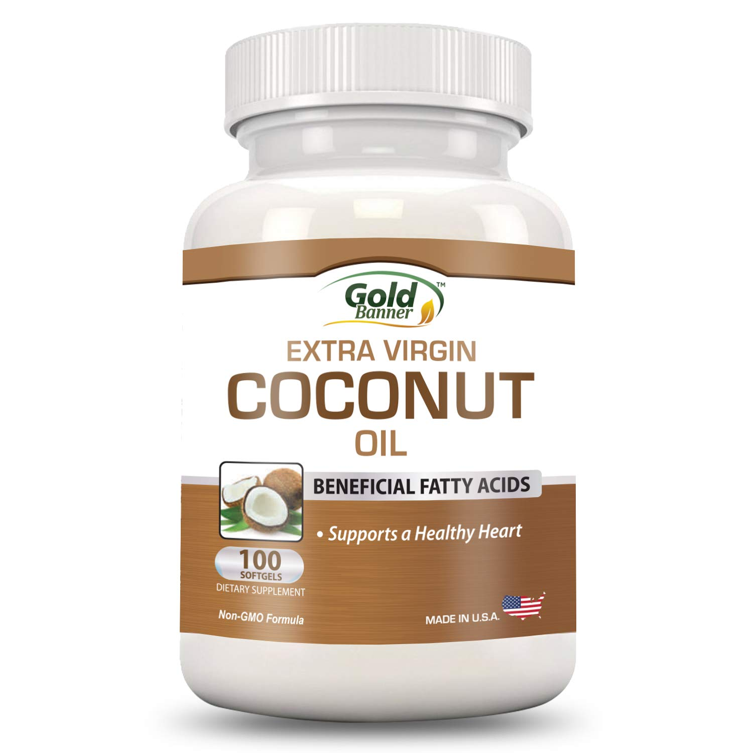 Extra Virgin Organic Coconut Oil Capsules - Improve Immunity & Brain Function Supports Healthy Heart - 100 Softgels, 1000mg Each - Cold-Pressed - GMP Compliant Facility - Made in the USA - Gold Banner
