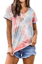 Sovoyontee Women's Tie Dye T-Shirt Loose Casual Crew Neck Short Sleeve Tops