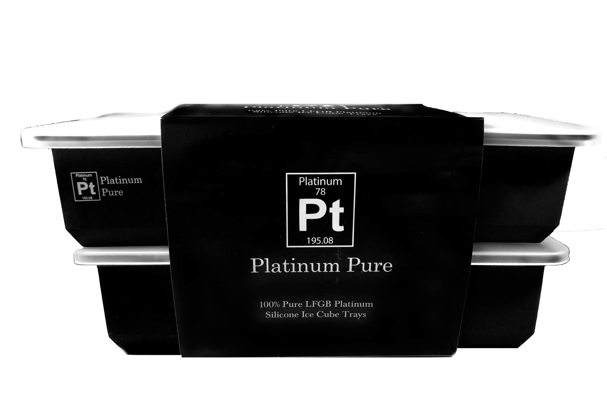 Platinum Pure – Silicone Ice Cube Trays – 100% Pure Platinum LFGB Silicone – Set of 3 Trays With Silicone Lids – No Fillers – BPA Free – 2 Inch Square Cubes Stackable Easy Release (Black - 3 Pack)