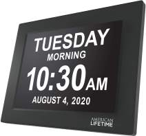 American Lifetime, Newest Version, Day Clock Extra Large Impaired Vision Digital Clock with Battery Backup and 5 Alarm Options, Black Finish