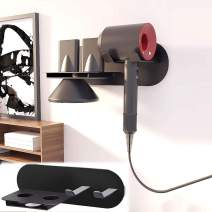 Vanell ABORON Hair Dryer Stand Holder Wall Mounted for Dyson Supersonic Hair Dryer Diffuser Nozzle Black Hair Blow Dryer Stand Rack Organizer