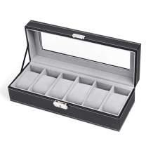 NEX 6 Slots Watch case, Real Glass PU Leather Watch Box Organizer for Man(Black)