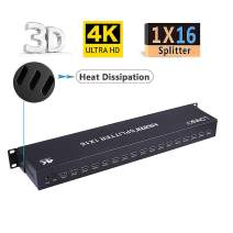Premium Quality Ultra HD 4K 60HZ 1x16 HDMI Splitter High Resolutions Up to Full Ultra HD 1080P and 3D Compatible with Xbox, PS4 PS3 Fire Stick Blu Ray Apple TV HDTV (1 Input To 16 Outputs)