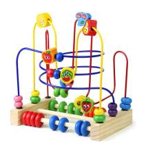 Fajiabao Wooden Fruits Slide Bead Maze Colorful Abacus Montessori Toys for Toddlers Roller Coaster Activity Cube Educational Toys Birthday Gifts Indoor Games for Walkers Boys Girls