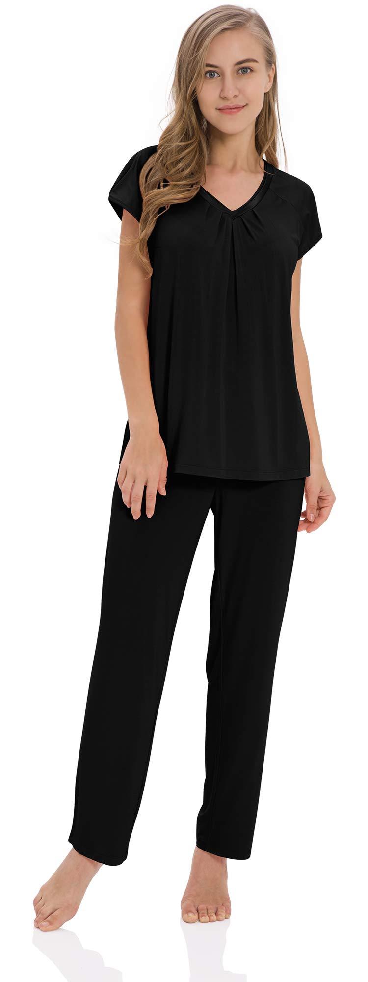 GYS Women's Short Cap Sleeve V Neck Pajama Pants Set