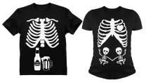Halloween Matching Couples Shirts Skeleton Twins Maternity Xray Beer Men Tee Set