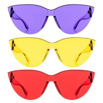 Colorful One Piece Rimless Transparent Cat Eye Sunglasses for Women Tinted Candy Colored Glasses …