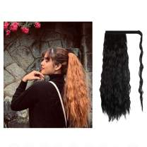 FESHFEN 20 Inch Long Curly Wrap Around Ponytail Hairpiece Off Black Corn Wave Magic Paste Synthetic Ponytail Hair Extension for Women Girls (1B)