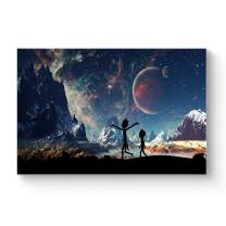 """HAOSHUNDA HSD Wall Art Rick and Morty Posters On Canvas Oil Painting Posters and Prints Decorations Wall Art Picture Living Room Wall Ready to Hang 12"""" x 18"""" 16"""" x 24"""" (12""""x18""""x1, Artwork-25)"""