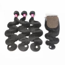 Forawme Brazilian Hair Full Weave Closure 4pcs Lot Wet and Wavy 16 18 20 With 14 Inch Free Part Silk Base Closure With Weaves Hair