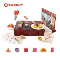 TOP BRIGHT Pretend Play Food Barbecue Playset Kitchen Toys,Wooden Preschool Shape Blocks, Learning Toys for Toddlers