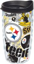 Tervis NFL Pittsburgh Steelers All Over Tumbler with Wrap and Black Lid 10oz Wavy, Clear