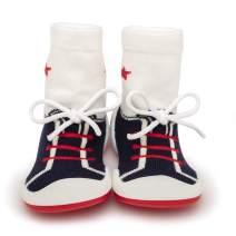 Komuello Boy Girl Baby Toddler Pull up First Walker Non Slip Soft Cotton Premium Sock Shoes This Little Piggie Toddler
