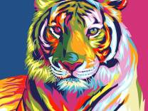 """iCoostor Paint by Numbers DIY Acrylic Painting Kit for Kids & Adults Beginner - 16"""" x 20"""" Colorful Tiger Pattern"""