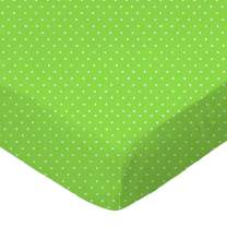 SheetWorld Fitted Pack N Play (Graco) Sheet - Primary Pindots Green Woven - Made In USA