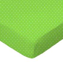 SheetWorld Fitted Bassinet Sheet - Primary Pindots Green Woven - Made In USA