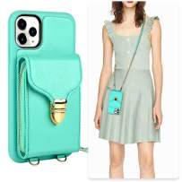 iPhone 11 Pro Wallet Case, JLFCH iPhone 11 Pro Crossbody Case with Zipper Card Slot Holder Wrist Strap Shoulder Chain Protective Cover for iPhone 11 Pro 5.8 inch - Mint Blue