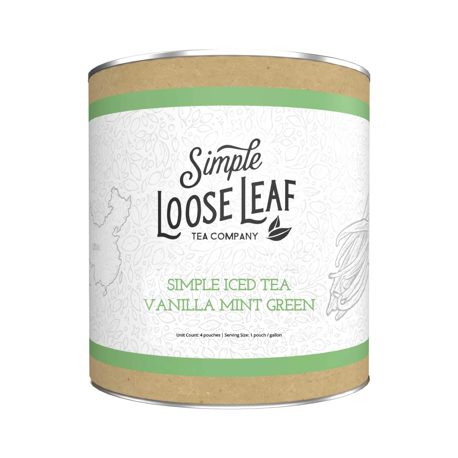Simple Loose Leaf - Vanilla Mint Green Iced Tea (4 pk) - Premium Brewable Bagged Iced Green Tea - Clean and Fresh - High Caffeine - 4 to 6 Gallons Brewed