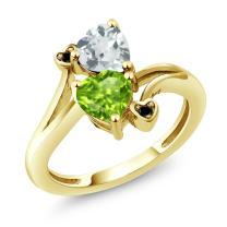 Gem Stone King 1.53 Ct Heart Shape Green Peridot Sky Blue Aquamarine 10K Yellow Gold Diamond Accent Ring