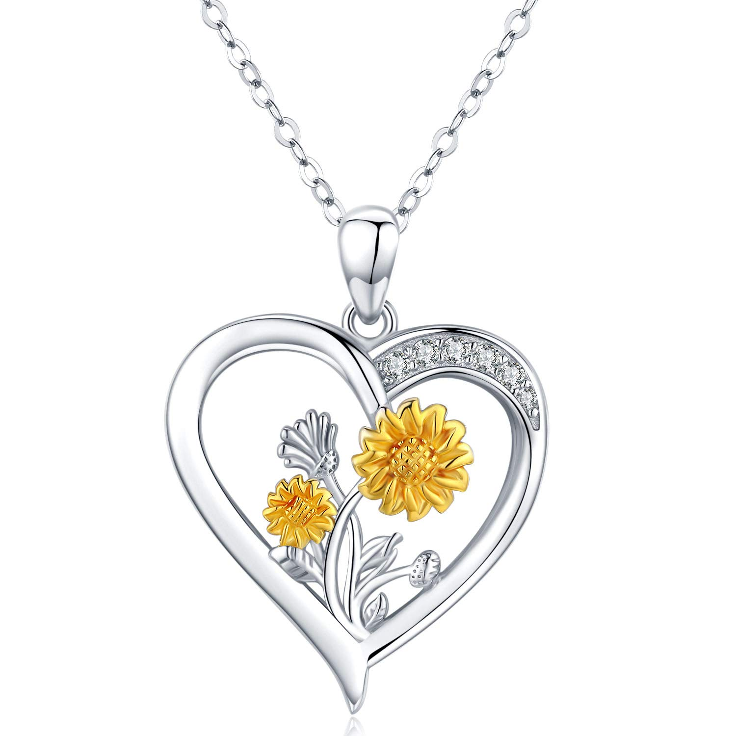 You Are My Sunshine Necklace for Women Sunflower Orchid Pendant Necklace Mothers day Jewelry Gifts for Mom Wife