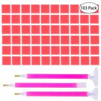 IHUIXINHE 100 Pieces 0.8×0.8 inches 5D Diamond Painting Glue Clay, Embroidery Cross-Stitch Painting Set Tool with 3 Kinds of Pen Drilling Embroidery(103 Pack)