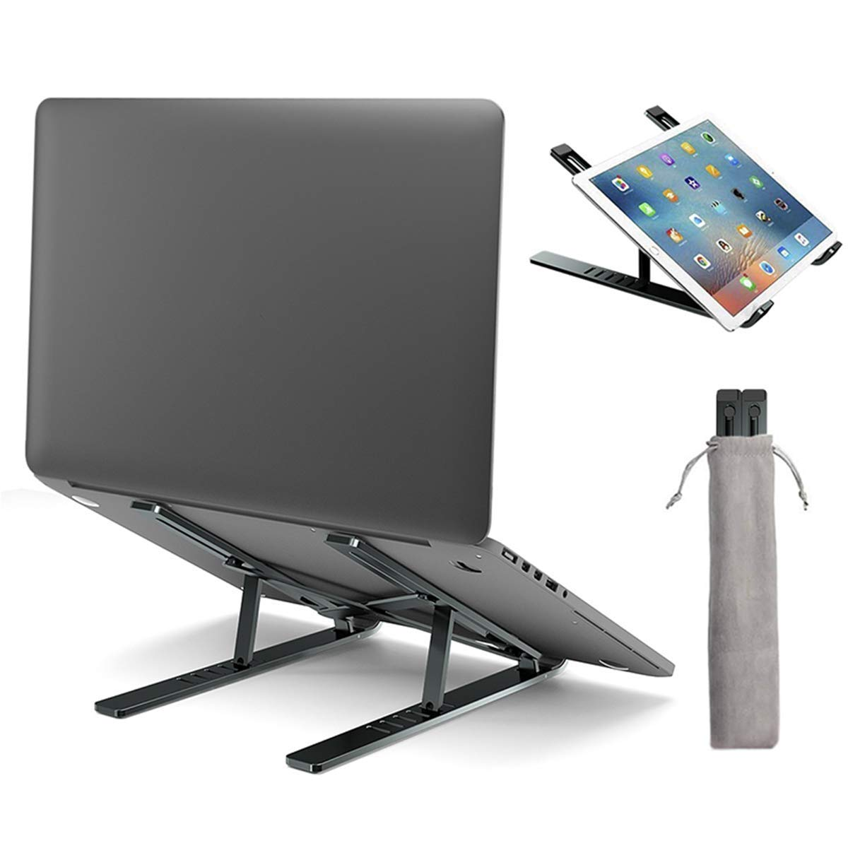 Laptop Stand,Laptop Holder Riser Computer Tablet Stand, 6 Angles Adjustable Foldable Portable Aluminum Ergonomic Desktop Holder Compatible with MacBook,iPad, Dell, Lenovo(Gray)