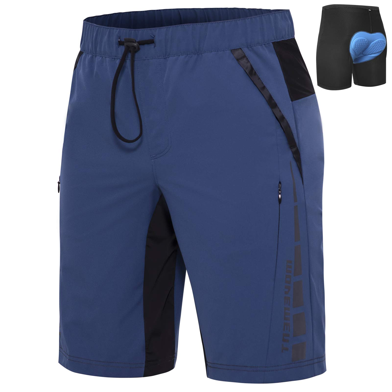 Cycorld Mens-Mountain-Bike-Shorts-Padded-Cycling-Shorts, Loose-Fit Quick Dry MTB Shorts for Men with Pockets