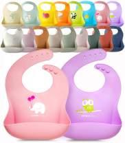Single or Set of 2 Waterproof Silicone Baby Bib Lightweight Comfortable Easy-Wipe Clean