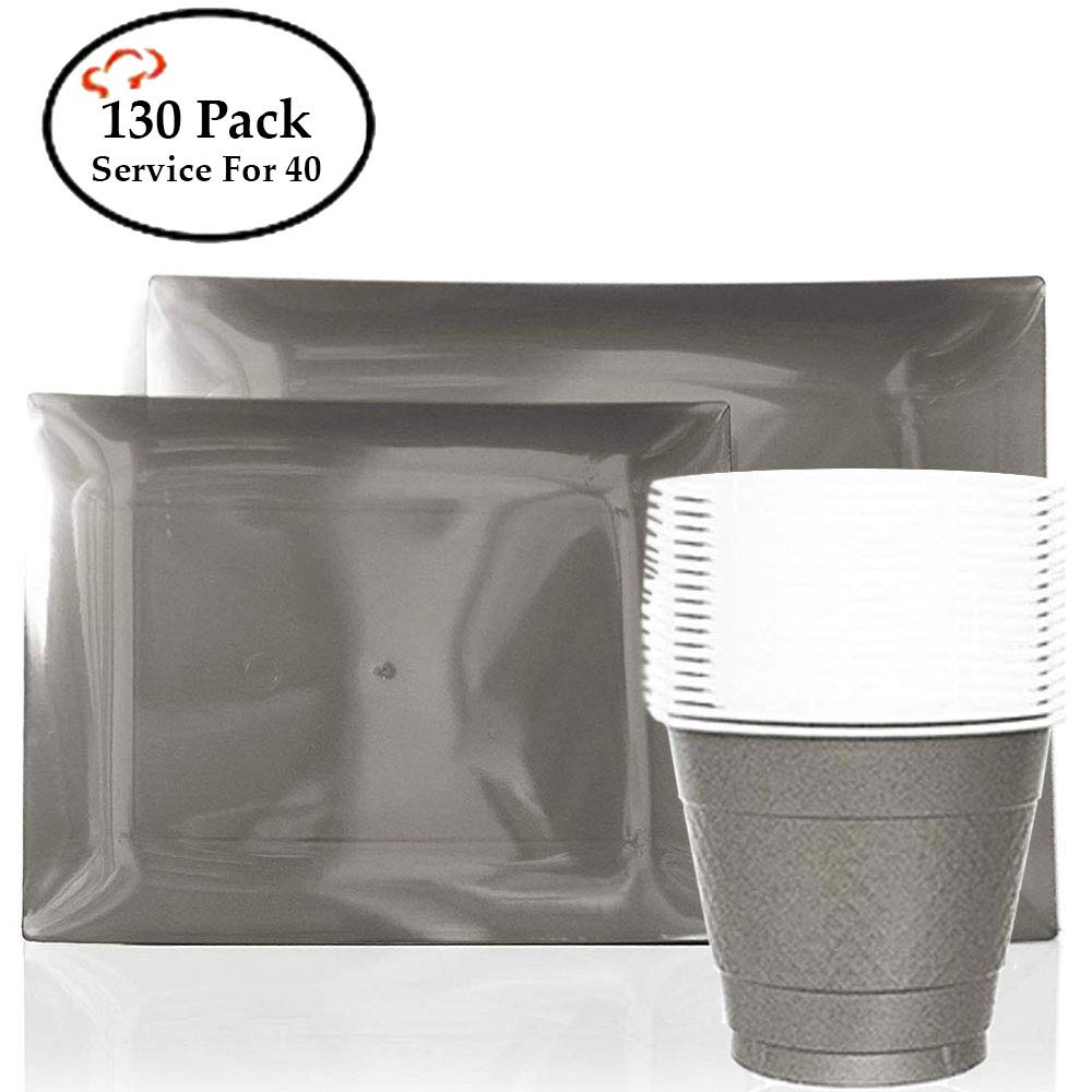 Tiger Chef 130-Pack Silver Heavy Duty Rectangular Disposable Party Supplies Set. Service for 40 Guests includes 40 9-inch Dinner Plates, 40 7.5-inch Dinner Plates 50 9-Ounce Cups