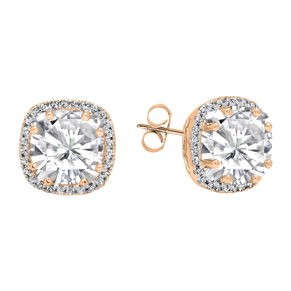 Dazzlingrock Collection 14K 6 MM Cushion Lab Created Gemstone & Round Diamond Ladies Halo Style Stud Earrings, Rose Gold