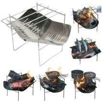 """12.5""""x12.5"""" Portable Stainless Steel Charcoal BBQ Grill, Foldable Mini Charcoal Barbecues with Carry Bag Used As Outdoor BBQ Kit Stainless Steel BBQ Grill for Outdoor Camping Barbecue Charcoal Starte"""