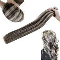 Hetto Invisible Extensions Tape in Human Hair Straight 22 Inch Skin Weft Hair Extensions Tape #2 Brown with #60 Blonde Double Sided Tape in Extensions 40pcs 100g/Pack